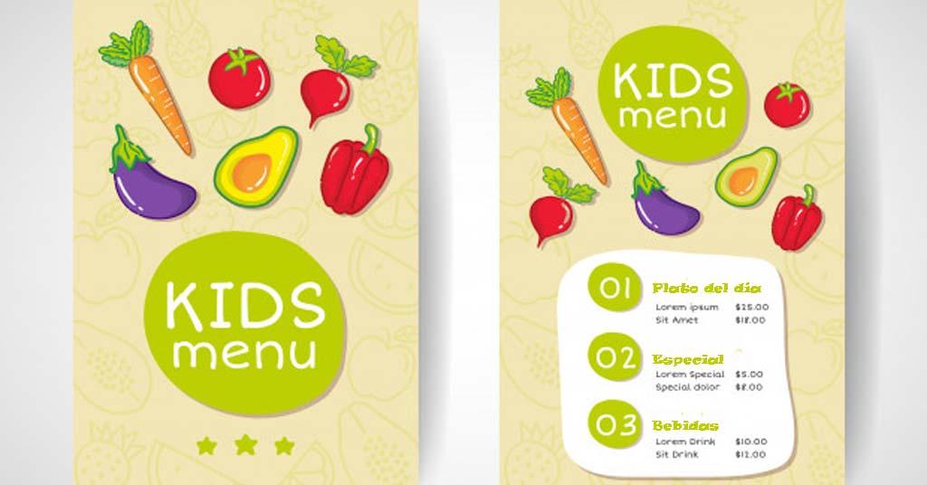 carta de restaurante para niños